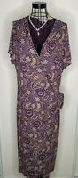 Stunning Ladies EAST Purple Grey Floral Pattern V Neck Wrap Dress Size 18