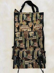 Vtg Las Vegas Hotels  Travel  Rolling Folding Storage Shopping Tapestry Tote Bag