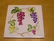 Vintage Hand Painted Tile Grapes Leaves Vines 6 x6 inches
