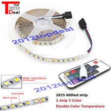 5M 600led Double Color White +Warm White 2835 LED Strip light +17Key controller