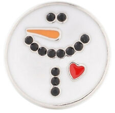 White Christmas Snowman Winter Heart 20mm Snap Charm For Ginger Snaps Jewelry