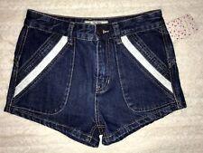Free People Dark Wash Denim High Waist Jean Shorts Sz 28 MSRP $88 Eyelet NWT #28