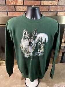 Vintage Green Wolves Wolf Pack Mens Sz Medium Crewneck Sweatshirt Vtg Full Moon