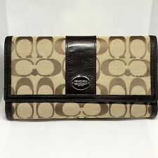 Women's Brown Coach Wallet - Leather & Fabric