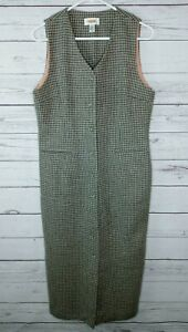 Vintage Talbots Womans Dress Sleeveless Lined Button Front Wool Gray Size 8