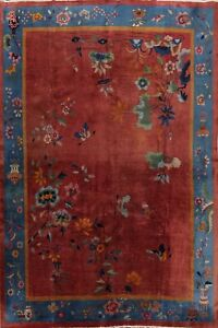 Vegetable Dye Floral Art Deco Chinese Oriental Area Rug Wool Hand-knotted 9x12
