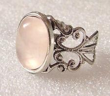 Pale Pink Rose Quartz Gemstone Adjustable Filigree-Style Ring L-T in Gift Box