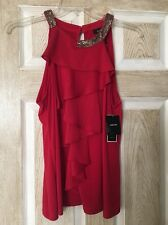 New Alfani Blouse, Women, Red, With Sequin, Ruffles, Sleeveless, Size L