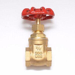 Brass Gate Valve 3/8 Female Npt 200 Psi Wog Water Oil Gas Bi-Directional