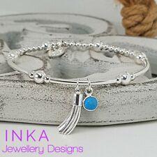 Inka 925 Sterling Silver bead noodle Stacking Bracelet Tassel & Turquoise charm
