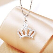 SILVER WOMEN CROWN NECKLACE CZ PAVE TIARA PENDANT 925 STERLING SILVER NECKLACE