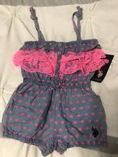 Infant Girls Blue/Pink Ruffle Heart U.S. Polo Assn. Short Romper Nwt - 18 Months