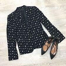 Zara Black White Long sleeve Casual Star Print Blazer Jacket M 10 Blogger