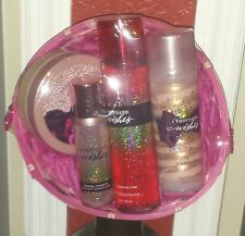 BATH AND & BODY WORKS THOUSAND WISHES 4 items women's pink gift basket NWT $75
