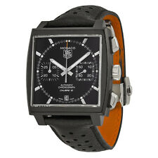 Tag Heuer Monaco Black Dial Chronograph Black Leather Mens Watch CAW211MFC6324