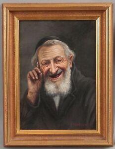 Vintage Polish Konstantin Szewczenko Jewish Rabbi Man Portrait Oil Painting, NR