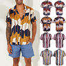 Mens Hawaiian Summer Floral Printed Beach Short Sleeve Camp Shirt Tops Blouse
