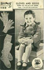 Vintage Gloves & Socks Knitting Pattern Bestway 1159 4-10 years