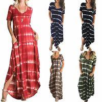 Women's Casual Striped Short Sleeved Pocket Split Irregular Hem Long Beach Dress