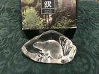 Mats Jonasson Beaver 33593 3593 Made In Sweden Crystal  Paperweight