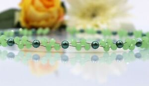 Glass Jewellery Stainless Steel Silver Necklace Women's Pearls Green Summer #