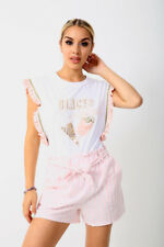 Women Ladies Sequin Fruit Ice Cream Ice Lolly Frill Summer Tops Shirts Tees