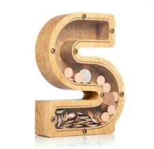 Wooden piggy bank Adult money box LETTER S Coin bank for girls boys kids Tip jar
