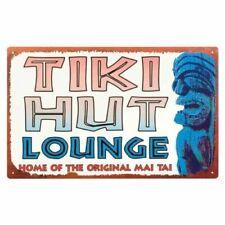 Vintage Style Tin Sign Tiki Hut Lounge 10 X 16