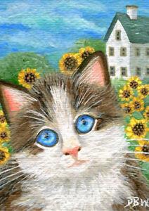ACEO original miniature art painting animal cat kitten pet sunflowers realism