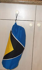"""St Lucia Flag Fabric Cloth Garbage Bag Holder Shopping Plastic Approx 19""""x 19"""