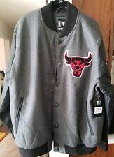 NBA Chicago Bulls Dark Grey Red Black Basketball Bomber Jacket -Mens XL