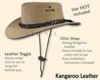 ~oZtrALa~CHIN-STRAP KANGAROO LEATHER Jacaru Australian Mens Cowboy Hat Chinstrap
