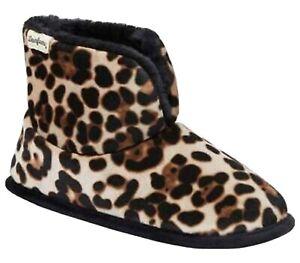 Dearfoams Sara Velour Bootie Slippers Leopard Indoors outdoor Women Shoe Sz 5-6