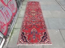 Vintage Traditional Hand Made Oriental Red Wool Long Narrow Runner 283x82cm