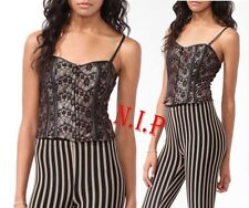 Forever21 Metallic Floral Lace Laced up Corset Cami Club wear Evening Party Top
