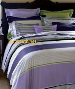 Yves Delorme Duvet Cover 92x92 White Green Purple Stripes Reversible Cotton New