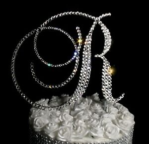 "Handmade Clear Crystals 6"" Wedding Cake Topper  Monogram Letter ""R"""