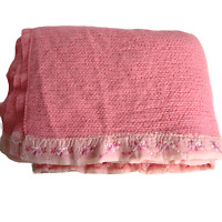 Vintage 70s Waffle Weave Blanket Pink 86x70 Embroidered Satin Trim Thermal