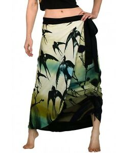 Swallows Reversible Hand Painted Long Feather Summer Beach Skirt 100% Cotton