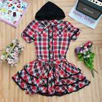 🍓 Tralala 🐰 Women Dress Hoodie Plaid Lolita Punk Hime Gyaru Tokyo Fashion Cute