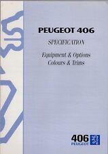 PEUGEOT 406 Berlina 1996 UK Opuscolo Specifiche del mercato L LX GLX SRI EXECUTIVE
