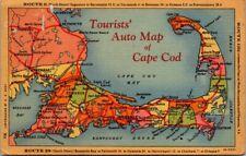 Postcard Tourists Auto Map Of Cape Cod