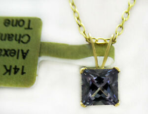 ALEXANDRITE 1.60 Cts SOLITAIRE PENDANT 14k YELLOW GOLD * New With Tag *