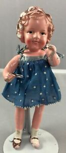 """7"""" Antique Japanese Composition Shirley Temple Doll! Adorable! 18158"""