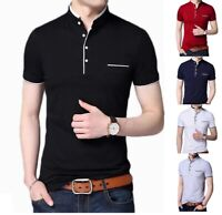 Men's Grandad Shirts Polo Shirt Short Sleeve Mandarin Collar Slim Fit Pique PL08