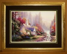 """""""The Forest Chapel"""" by Thomas Kinkade, a Canvas Print Framed to 27 X 21"""""""