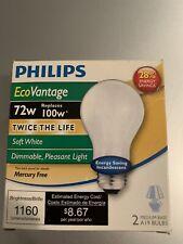 Philips EcoVantage 72W 1160 Lumens Dimmabke 2 Medium Base A19 Bulbs Soft White