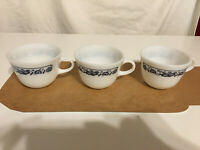 Pyrex Old Town Blue Onion Coffee Cup Milk Glass lot of 3