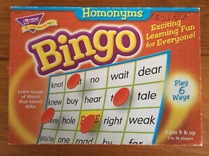 Homonyms Bingo Educational Grammar Game Trend 3-36 Players 36 Cards T-6132