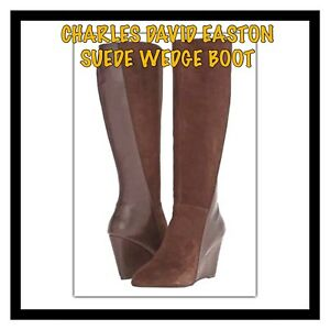 Charles By Charles David Easton Brown Suede Leather Wedge Boot Size 8 New In Box